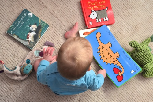 11 months - baby and books