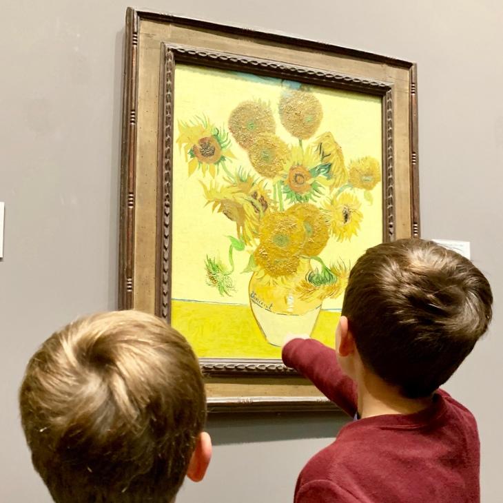 kids and sunflowers